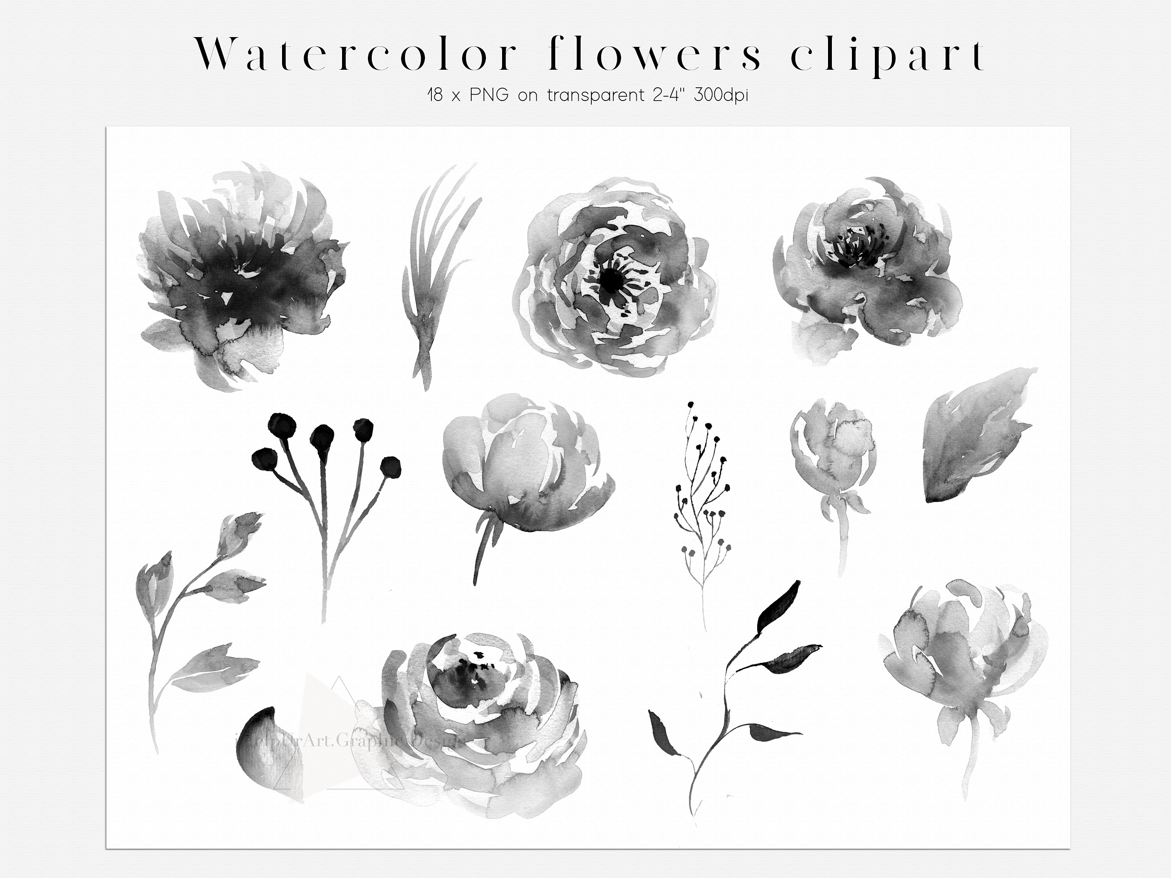 Iced Bloom - Watercolor Floral Design Bundle example image 8