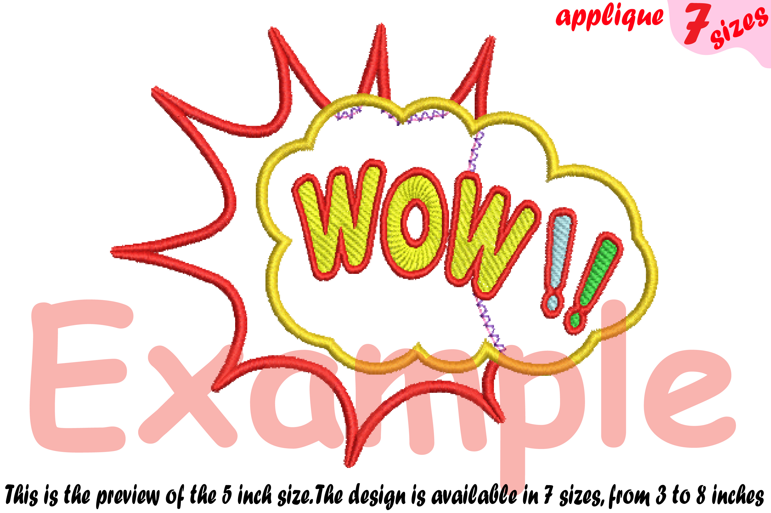 Wow Comic Book Applique Designs for Embroidery Machine Instant Download  Commercial Use digital file icon symbol sign pop Art Bubbles 3a