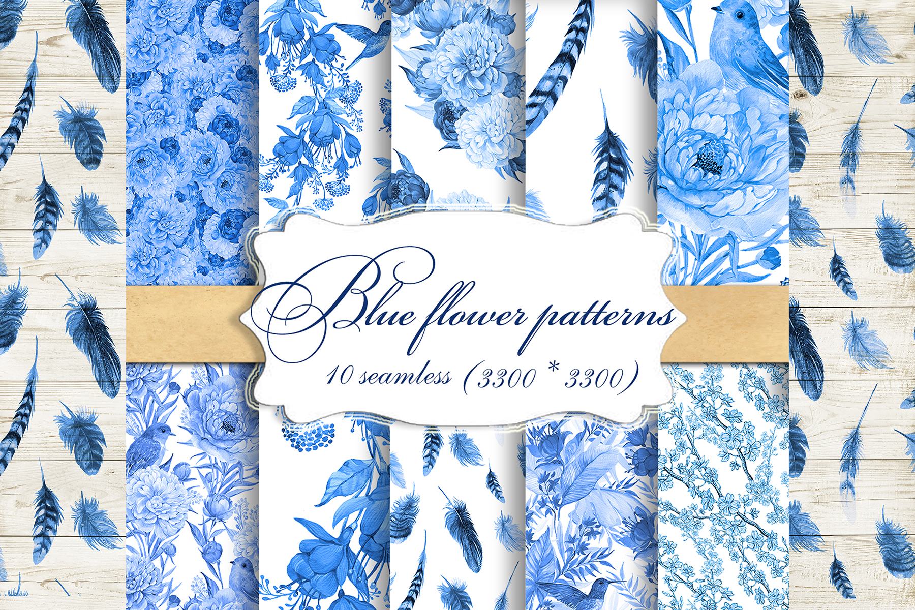 Feathers,Seamless patterns.Watercolor patterns . example image 1