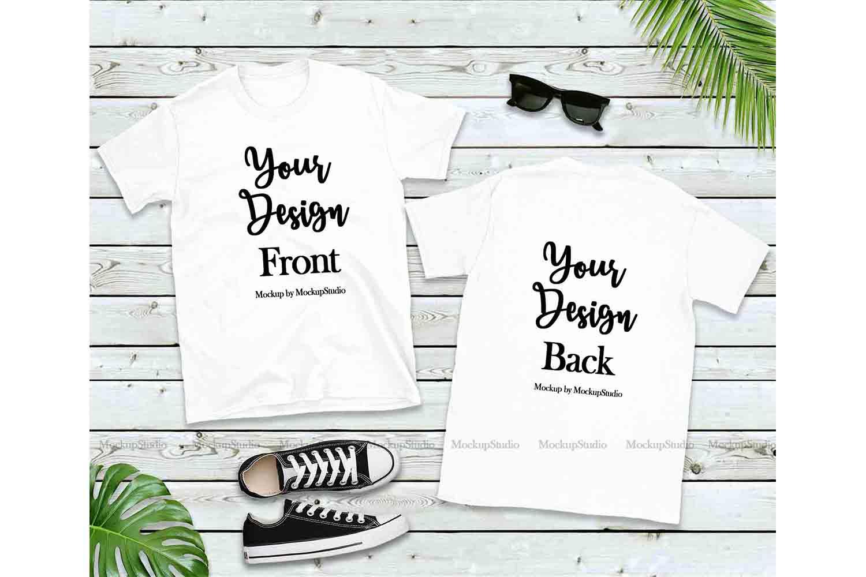 Front & Back White Tshirt Mockup, Gildan 64000 Shirt Mock Up example image 1