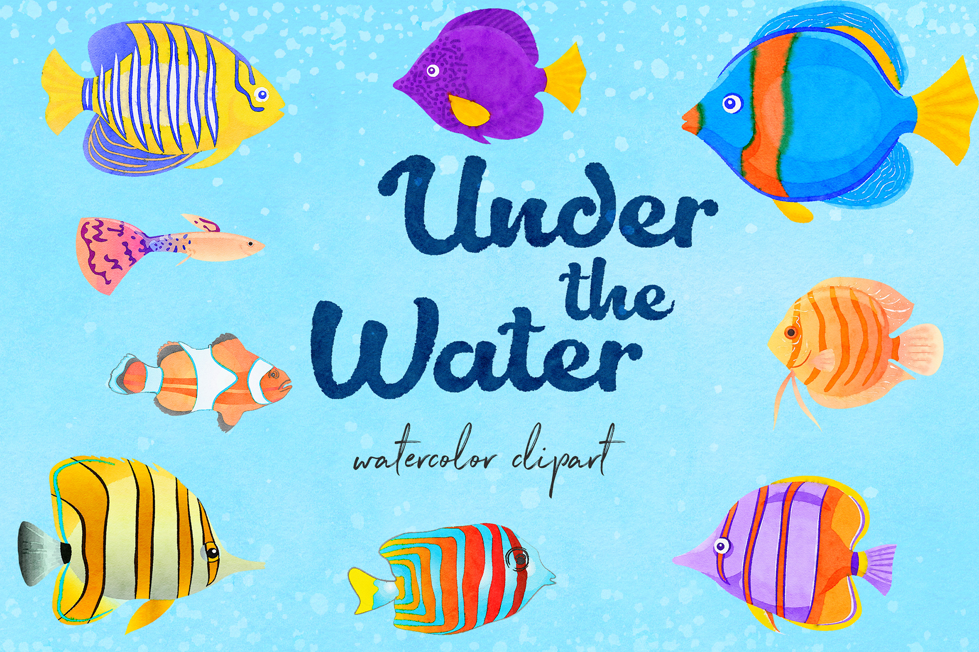 Watercolor Fish Clipart example image 1