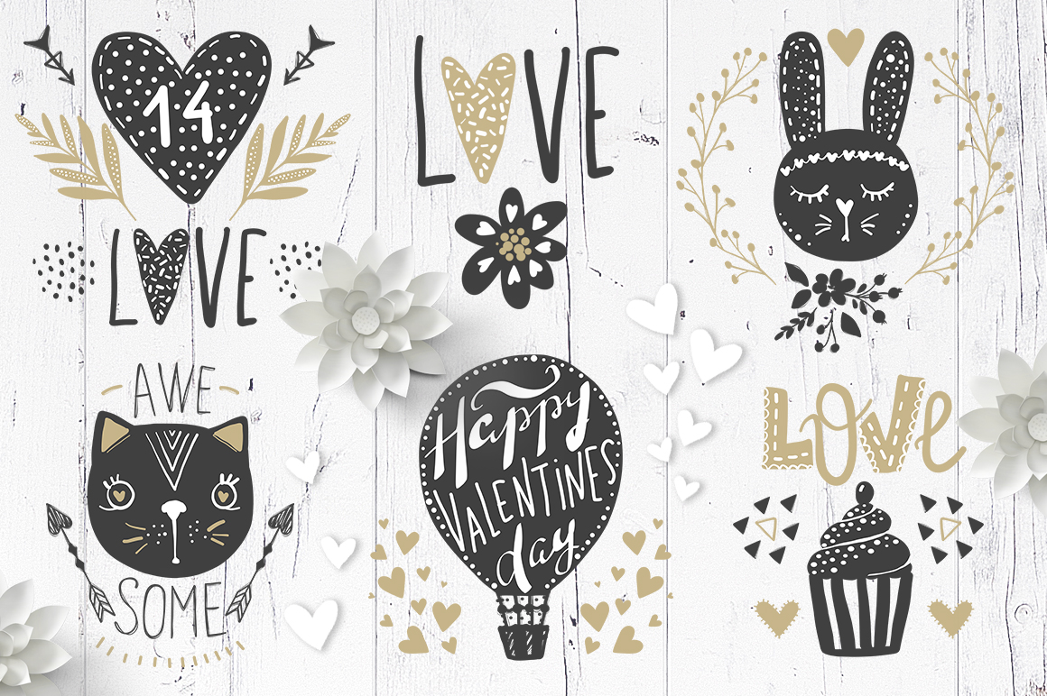 Valentines day.Love, hearts, animals example image 4