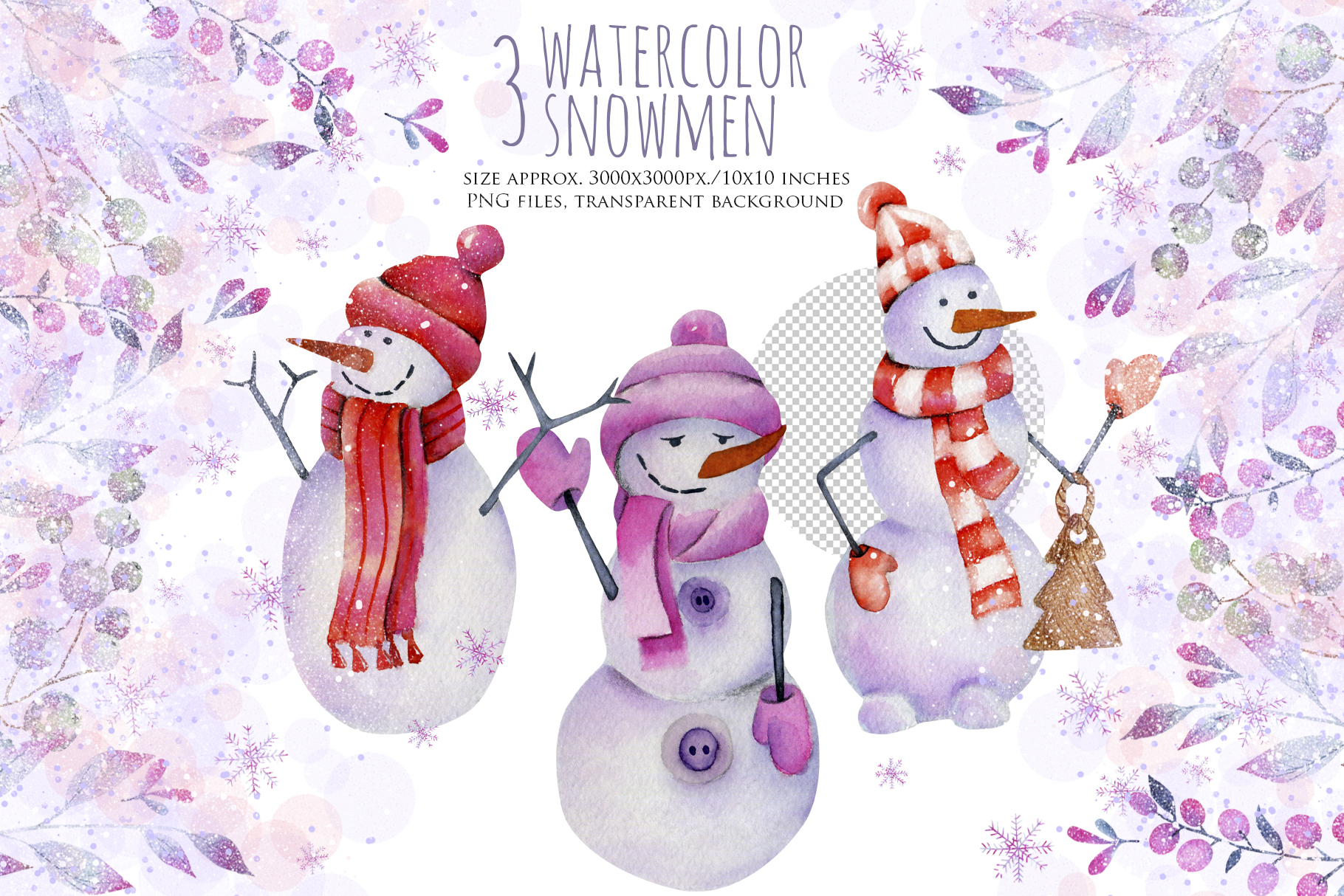 Let it snow. Watercolor Christmas clipart. example image 2