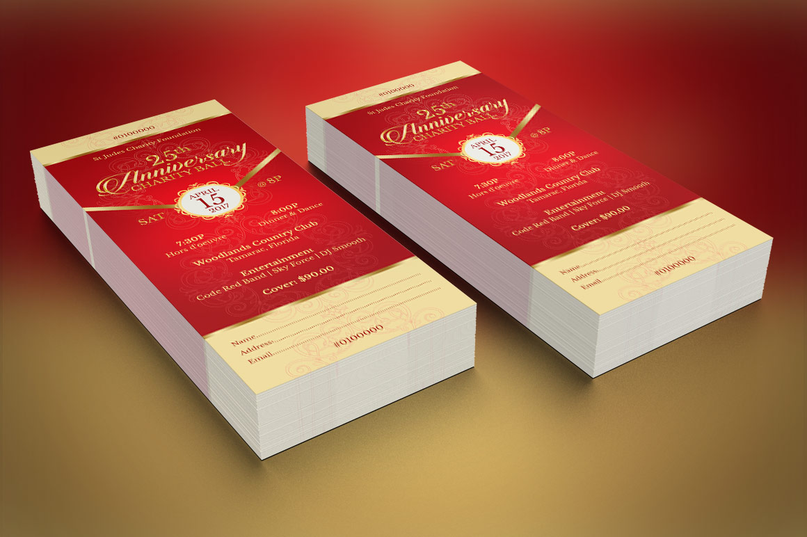 Red Gold Anniversary Gala Ticket Template example image 6