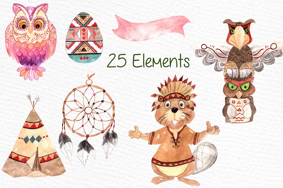 Watercolor kids tribal clipart example image 2