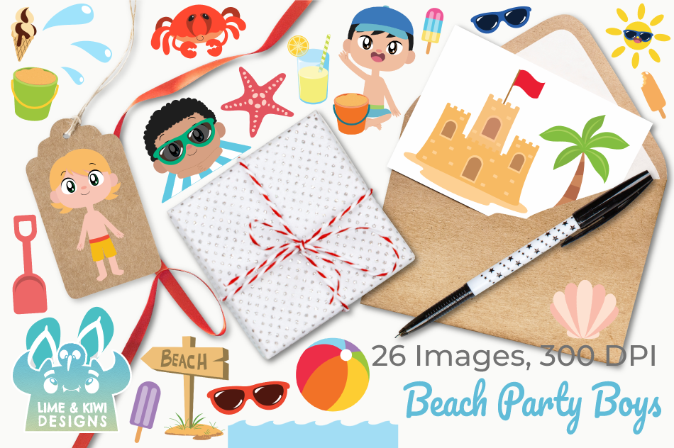 Beach Party Boys Clipart, Instant Download Vector Art example image 4