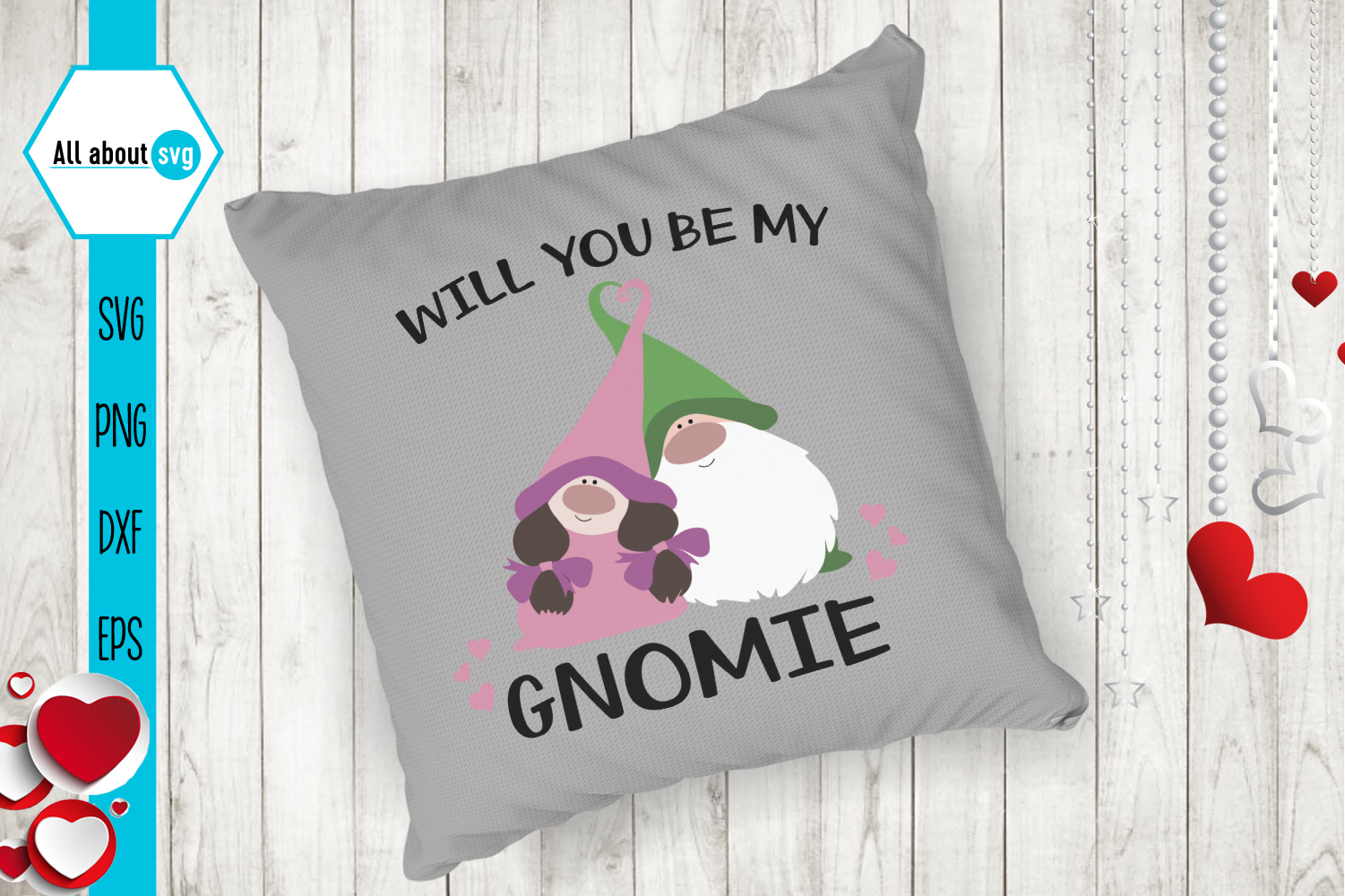 Will You Be My Gnomie Svg, Valentine's Gnomies Svg example image 5