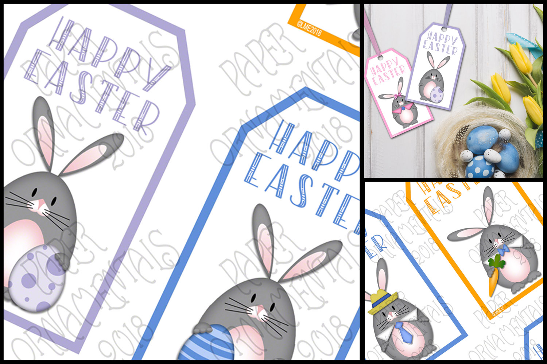 Printable Easter Gift Tags, Gray Bunnies example image 3