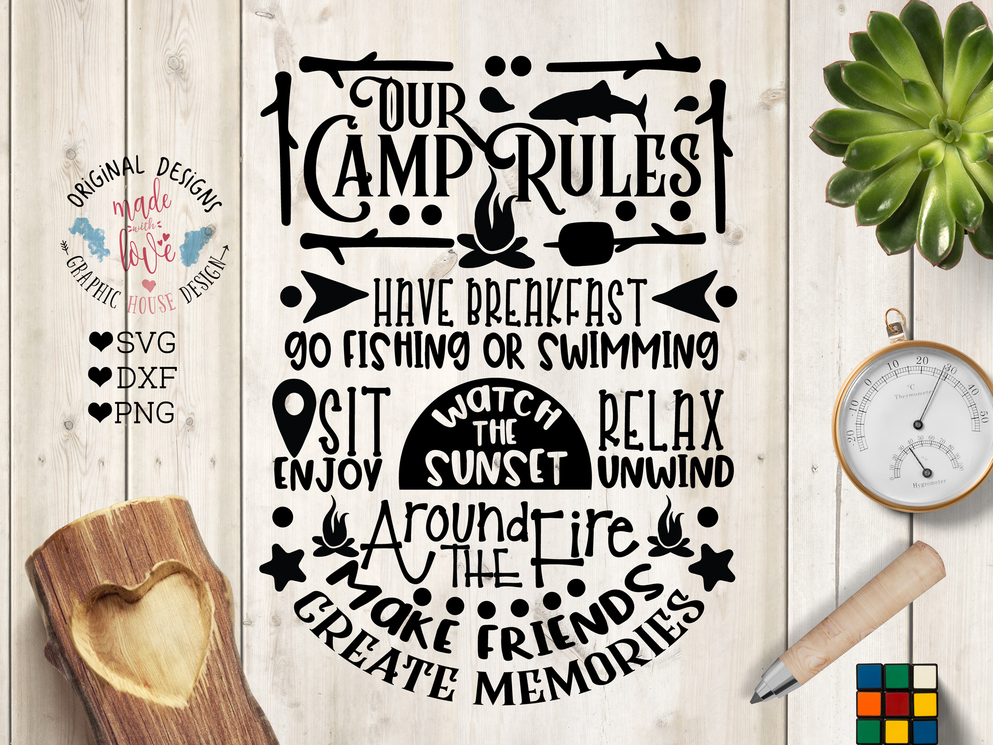 Our Camp Rules Cut File and Printable example image 1