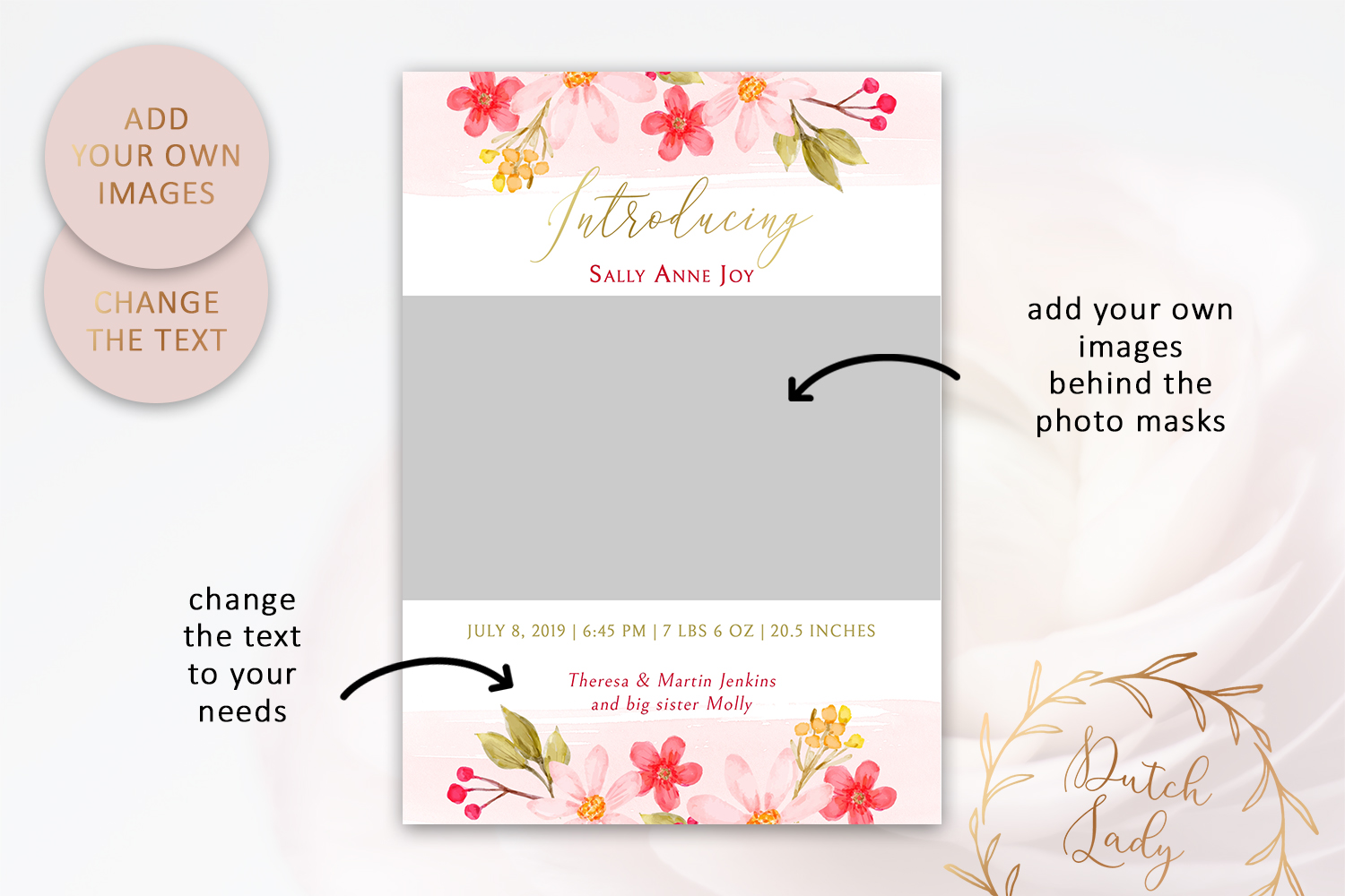 PSD Birth Announcement Card Template - Design #5 example image 2