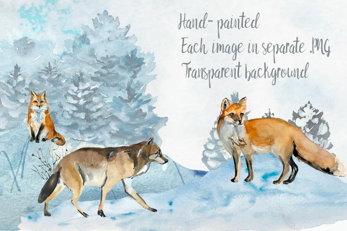 Watercolor Winter Woodland Clip Art Set example image 2