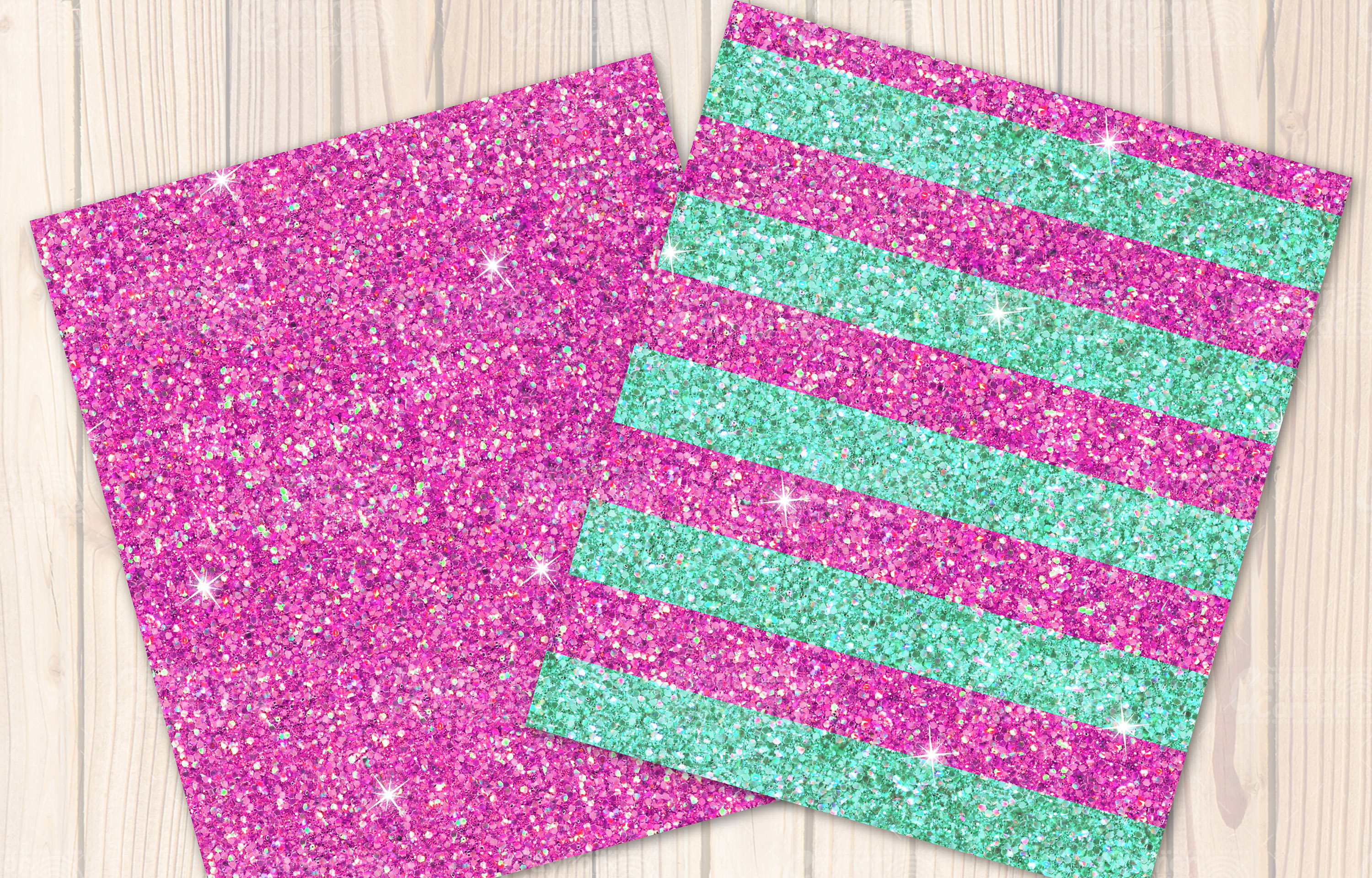 Pink and mint seamless Glitter backgrounds example image 2
