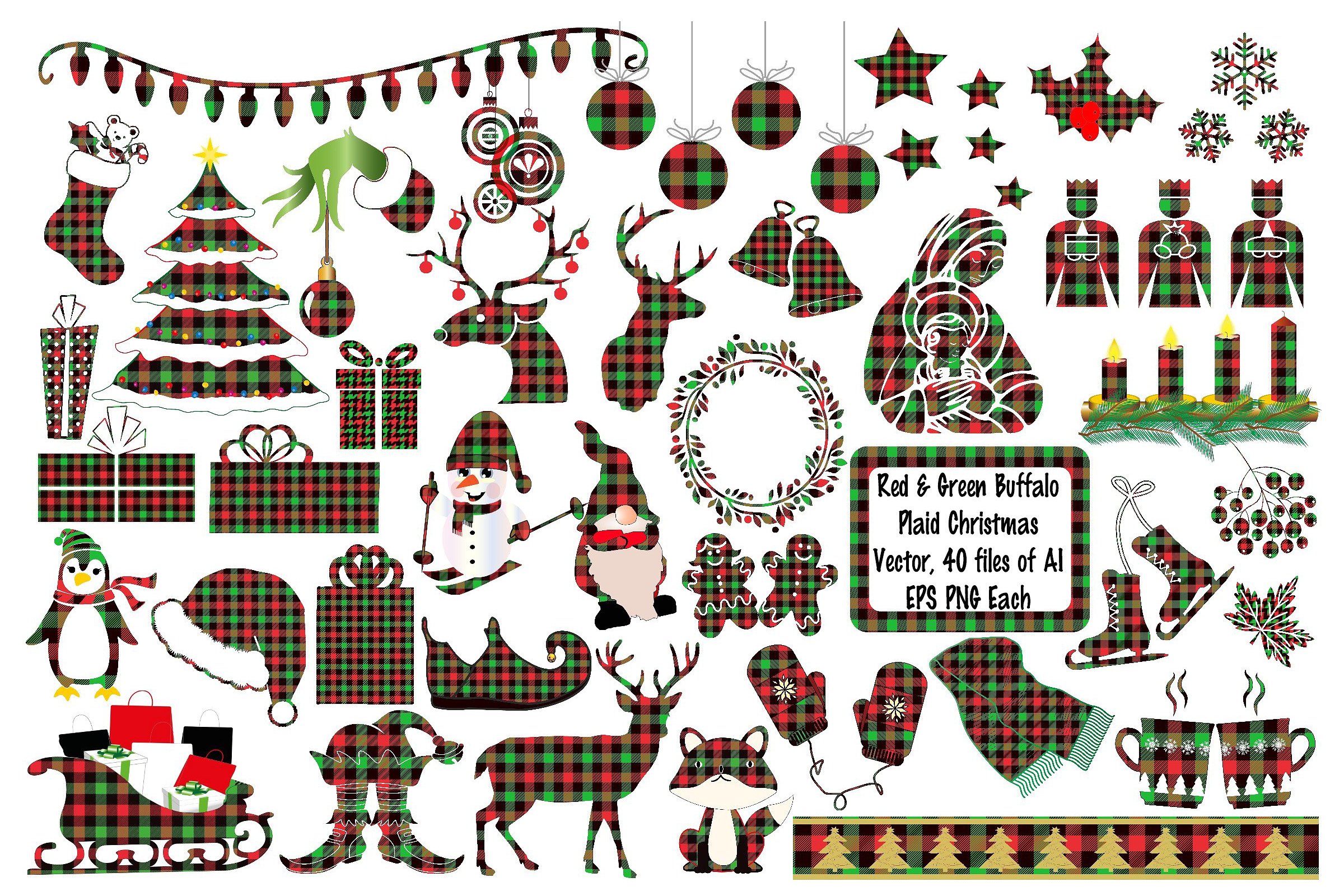 Christmas Buffalo Plaid Elements Deer AI EPS Vecor & PNG example image 1