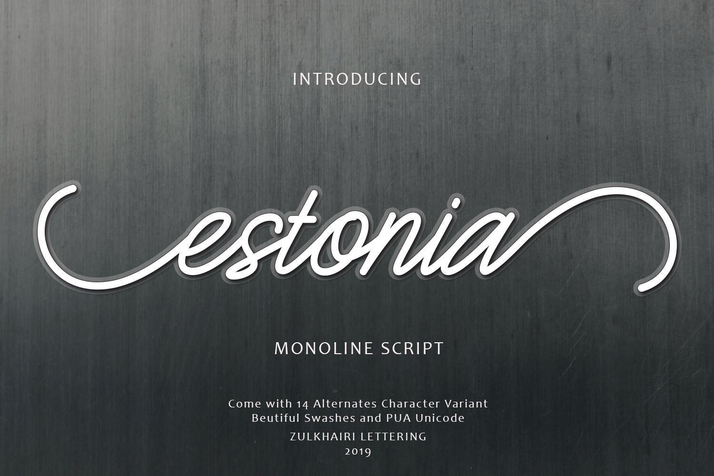 Estonia Monoline Script example image 5