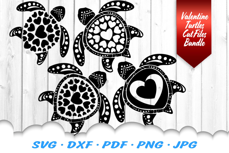 Valentines Sea Turtle Heart Mandala SVG DXF Cut Files example image 4