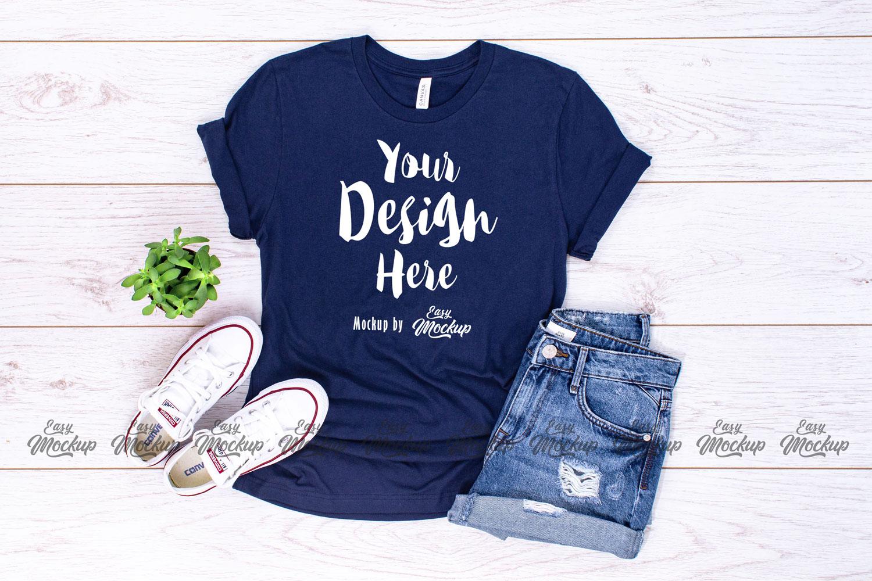 Navy Bella Canvas 3001 T Shirt Mockup example image 1