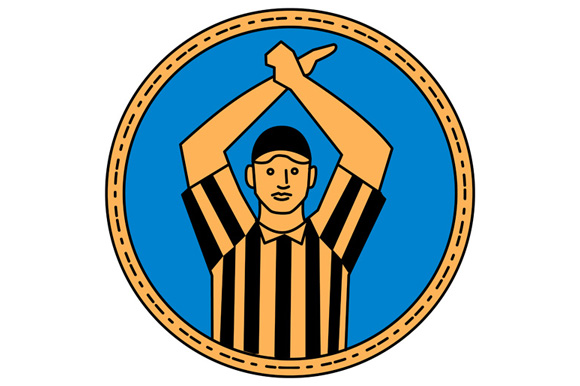 American Football Umpire Hand Signal Circle Mono Line example image 1