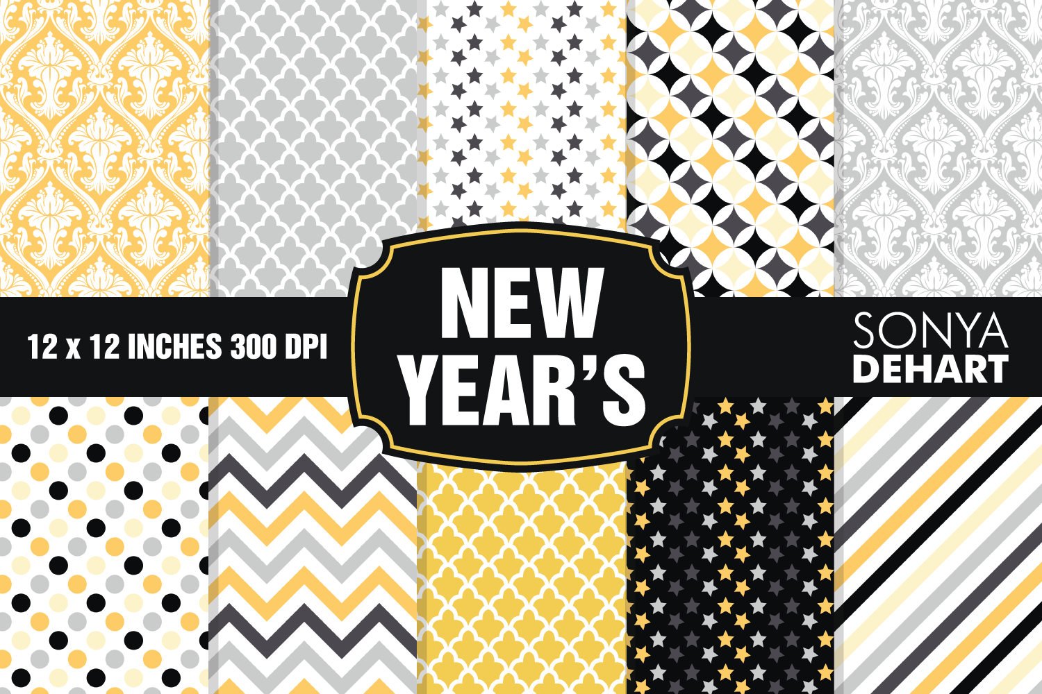 New Year's Eve Digital Paper Pattern Pack example image 1