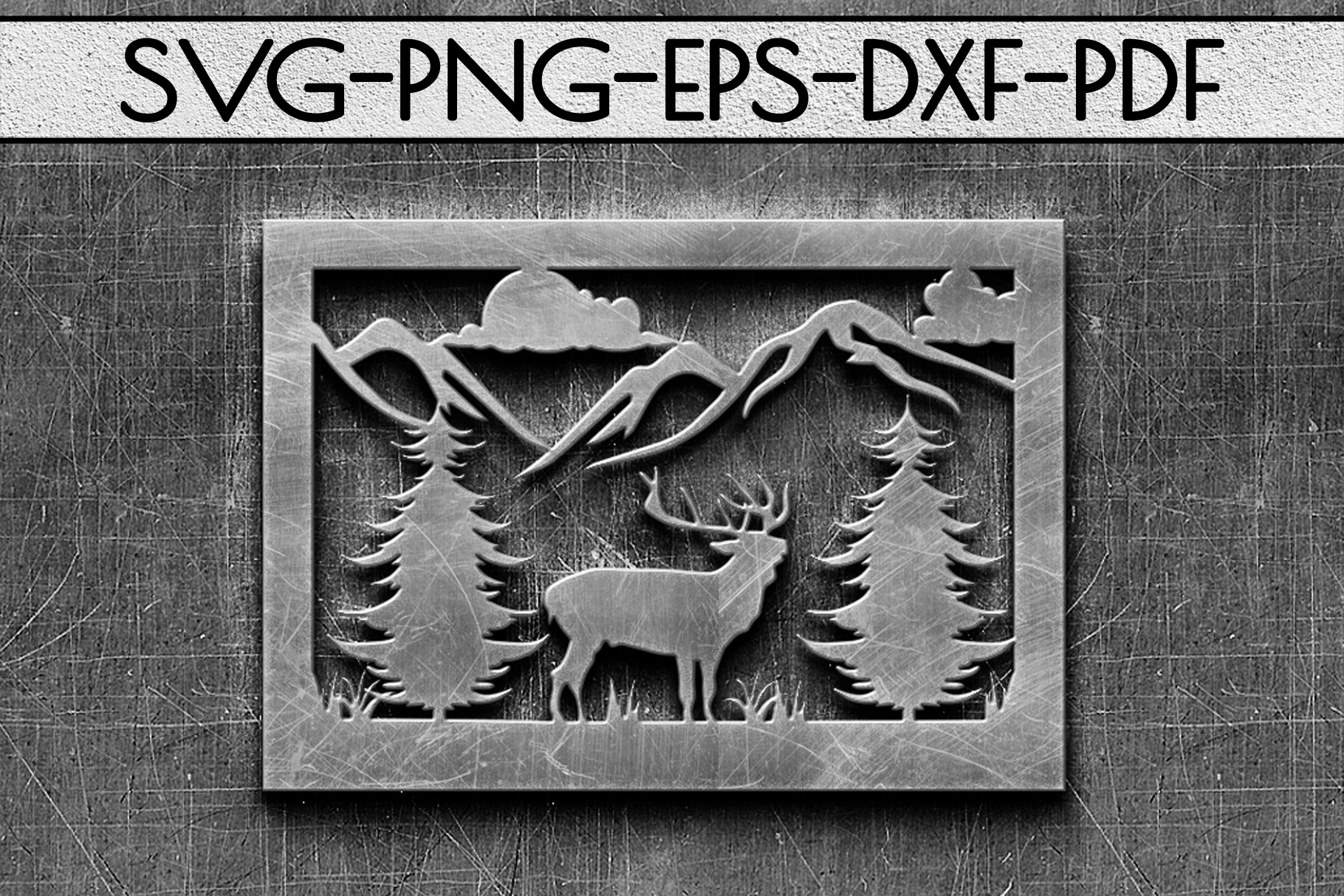 Wild Life Papercut Template, Woodland Adventure Scenery SVG example image 2