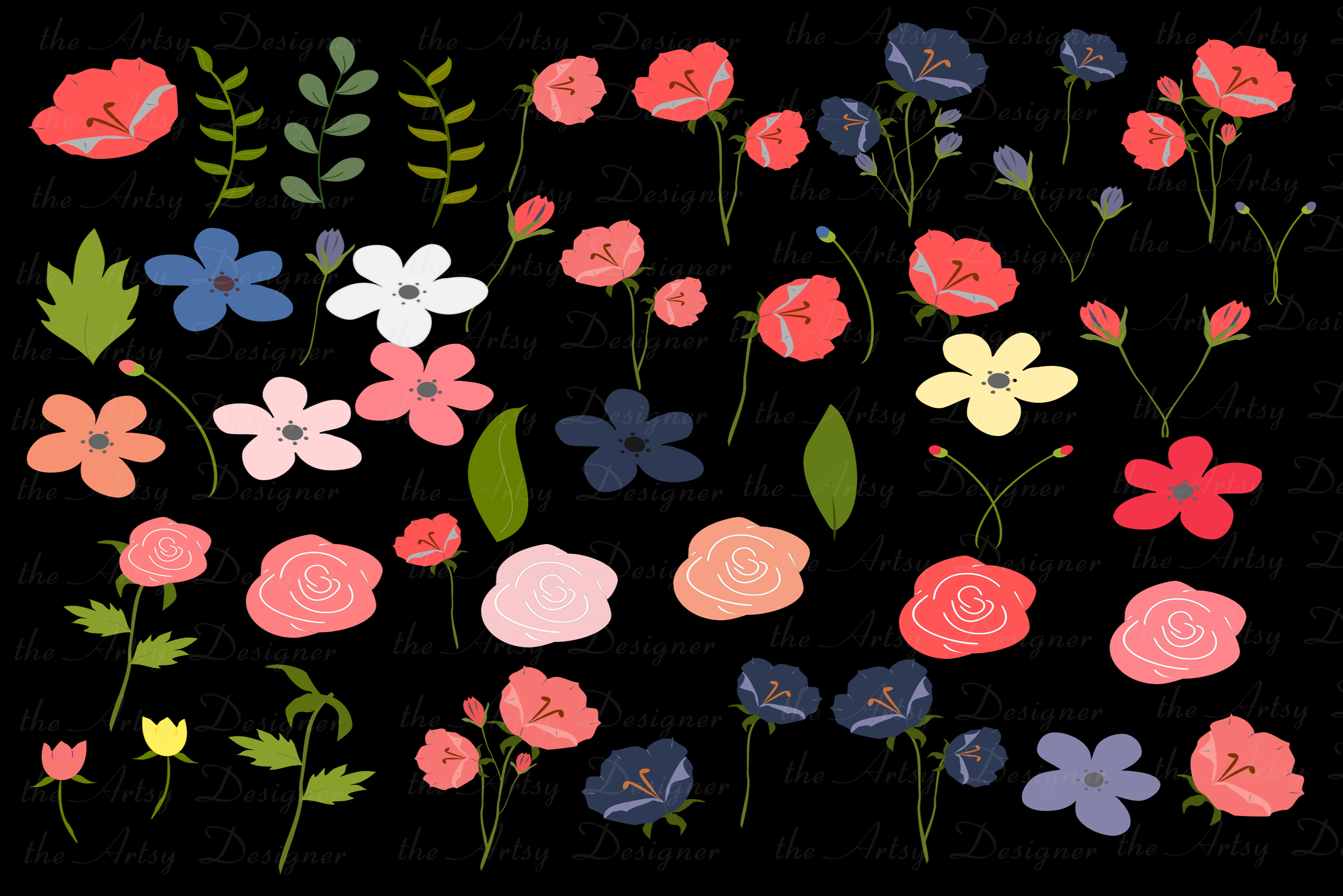 Navy Blue Coral Flowers Sublimation Clipart Bundle Wedding example image 4