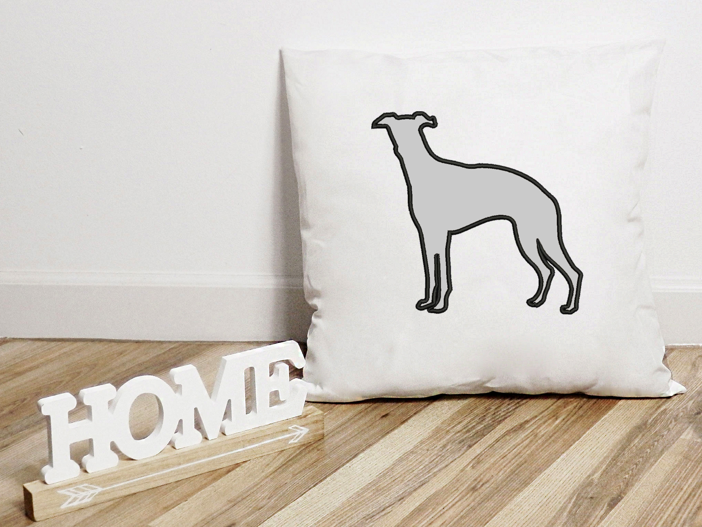 Whippet Dog Applique Design, Dog Embroidery Design example image 5