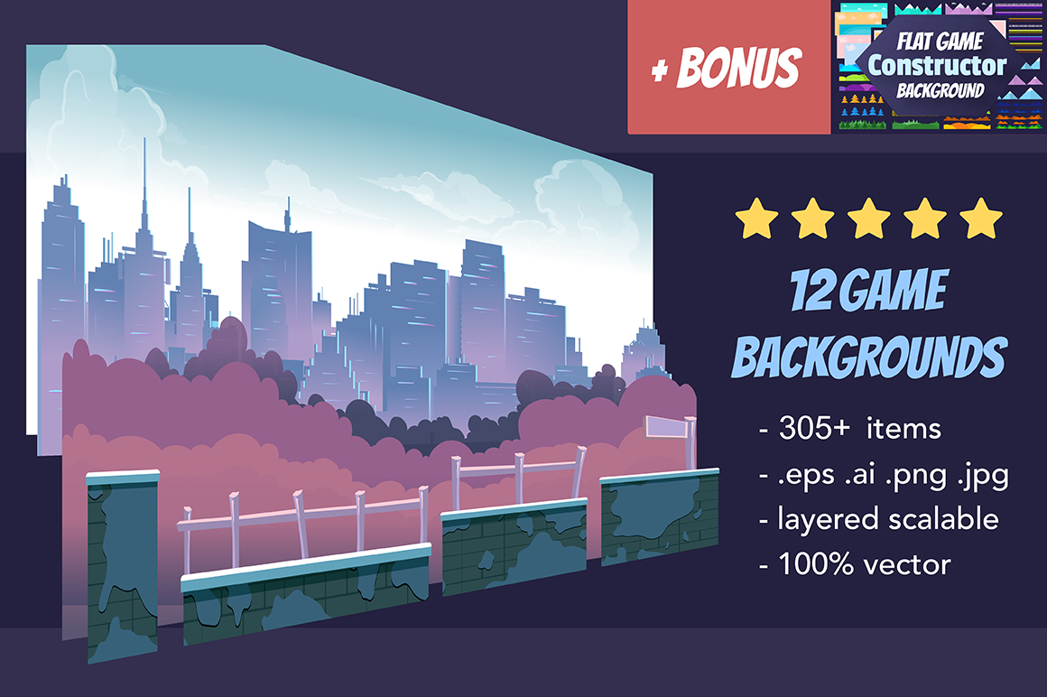 Game Backgrounds Pack III + Flat Constructor example image 1