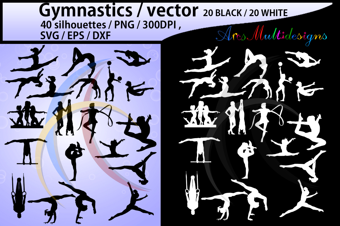 Gymnastics silhouette svg / Gymnastics clipart / silhouette / Gymnastics printable vector file : black and white / SVG / Png / EPS / DXf example image 1