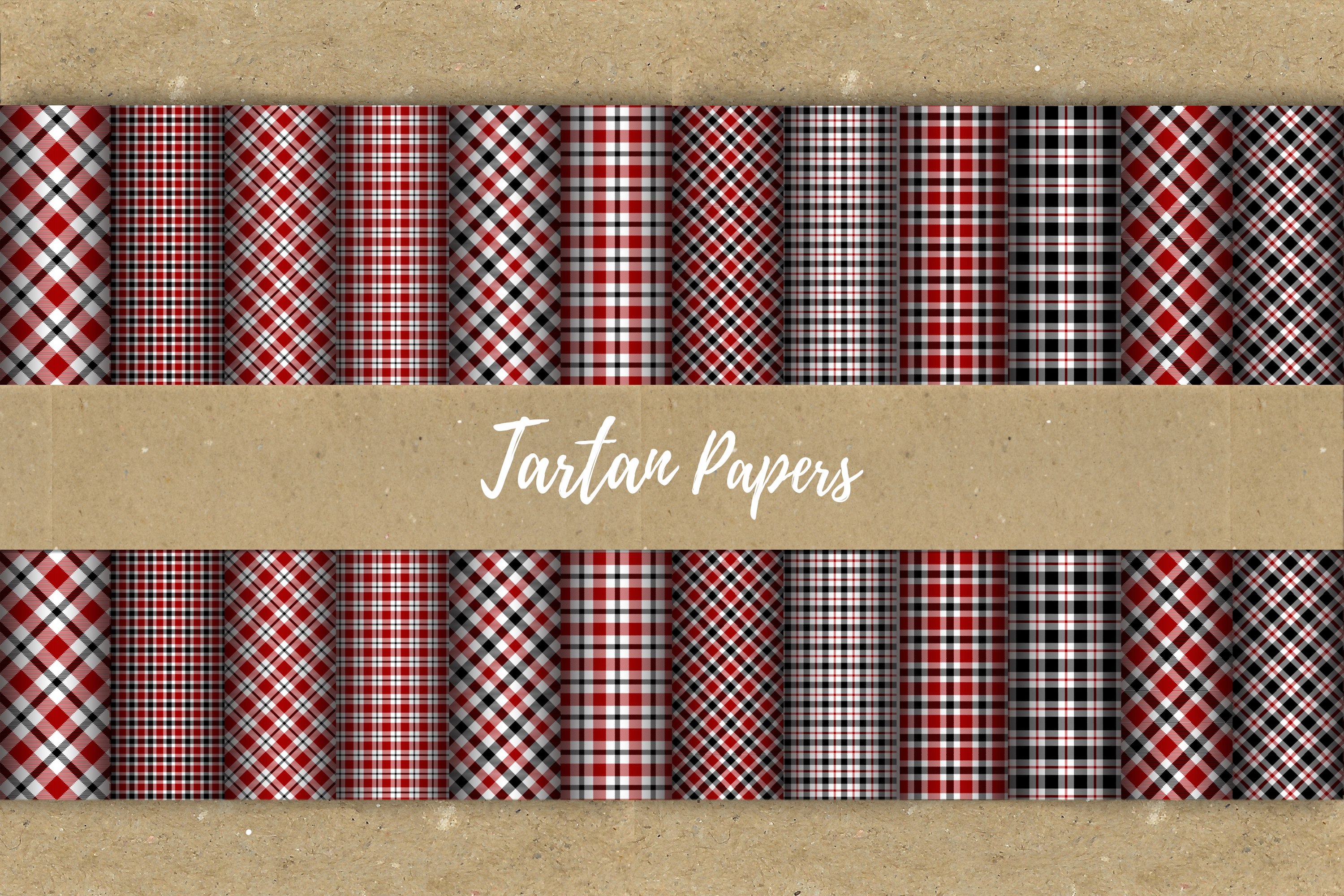 22 Black & Red Tartan Background Papers example image 11