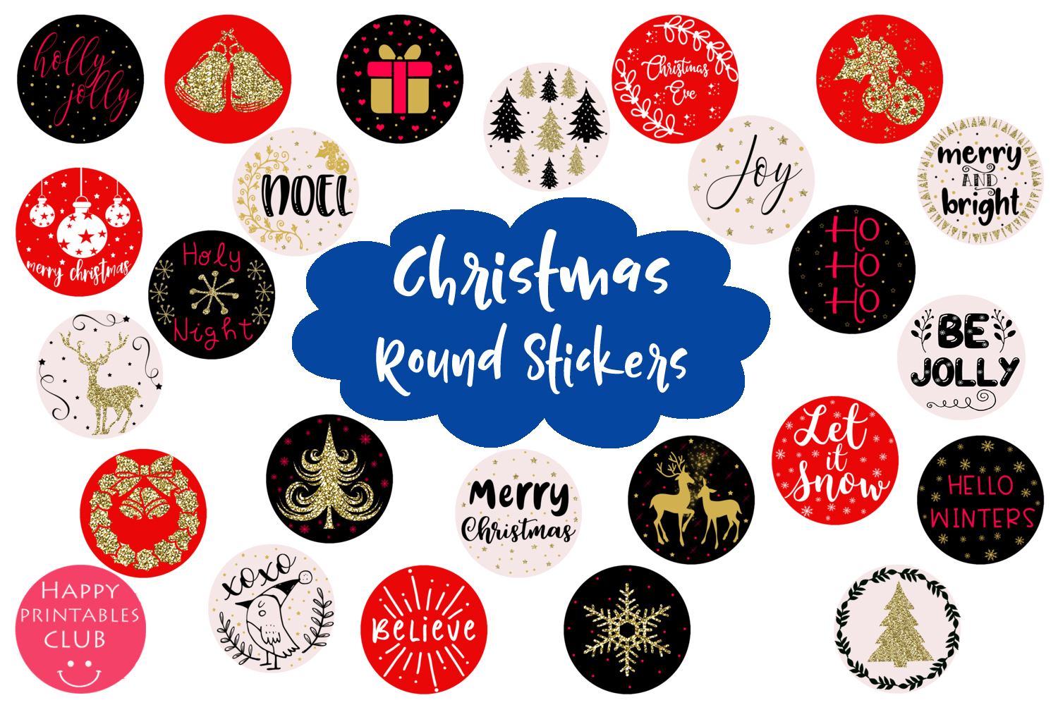 Cute Christmas Round Stickers- Holiday Round Stickers example image 1