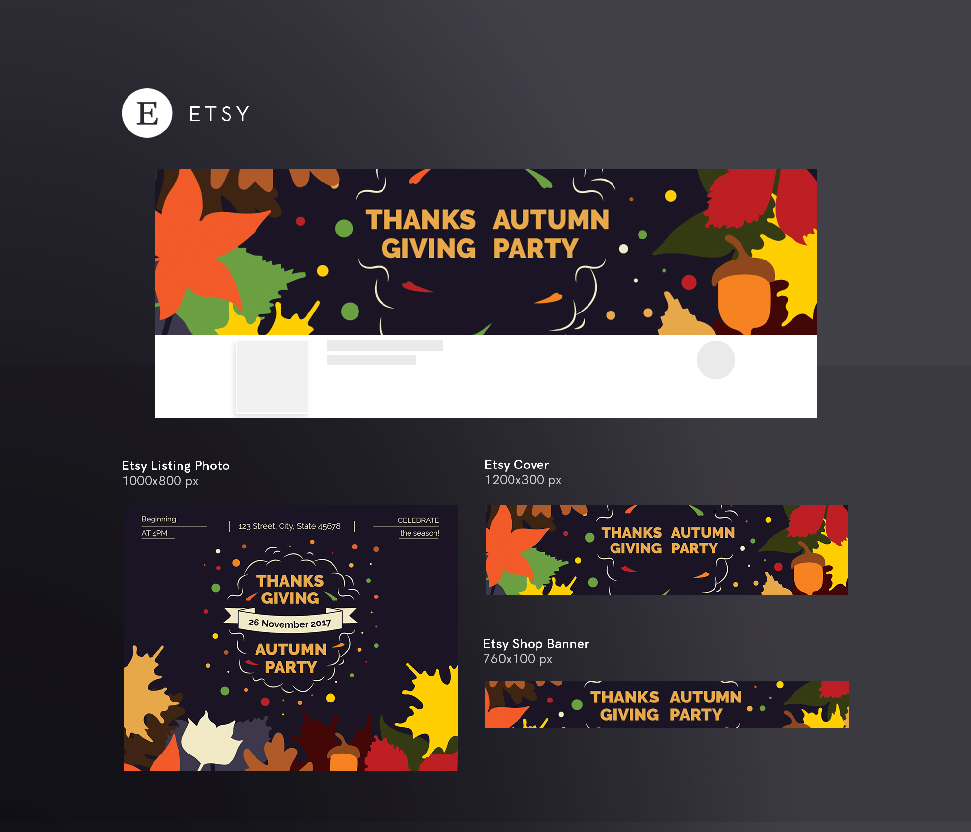 Thanksgiving Autumn Party Design Templates Bundle example image 14
