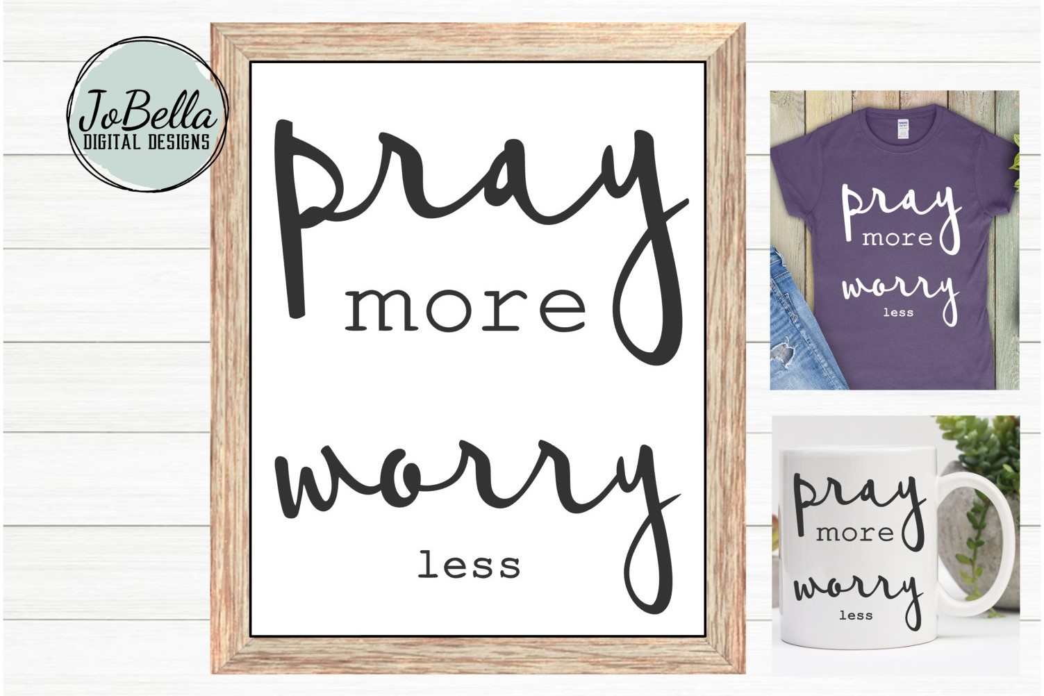 Pray More Worry Less SVG and Printable Christian Design example image 1