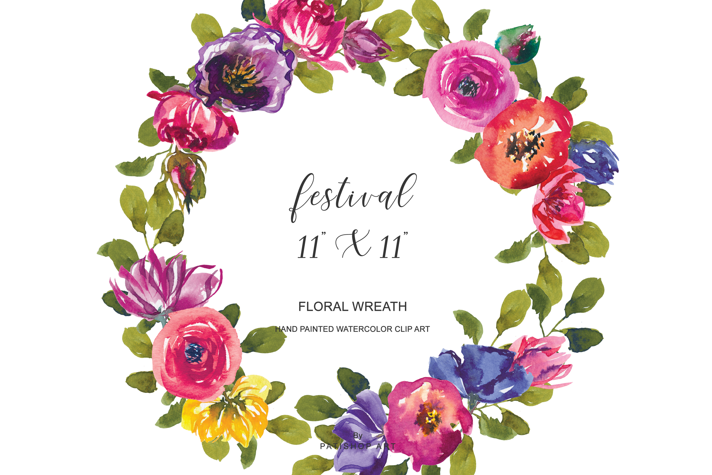 Watercolor Summer Flowers Wreath Clipart Colorful Wreath