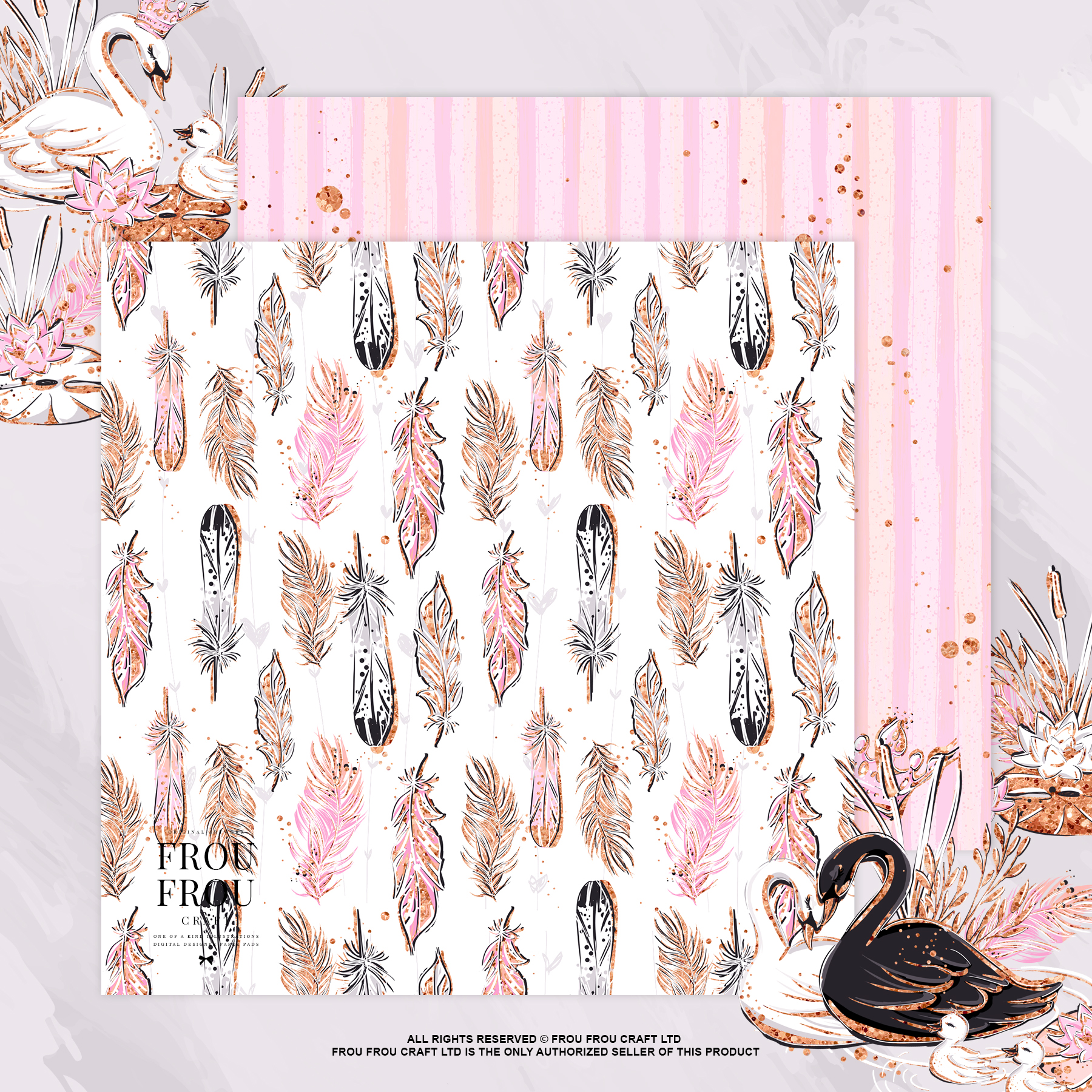 Swan Rose Gold Glitter Nursery Paper Pack example image 5