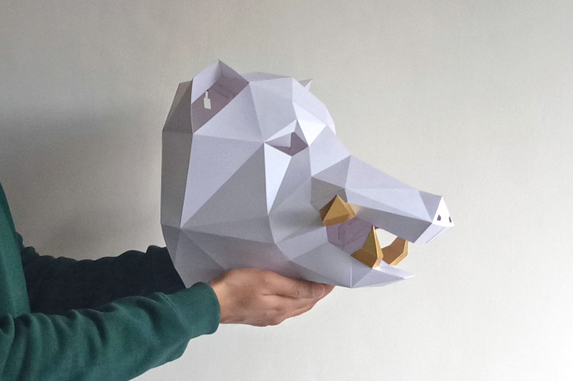 DIY Boar Trophy - 3d papercraft example image 3