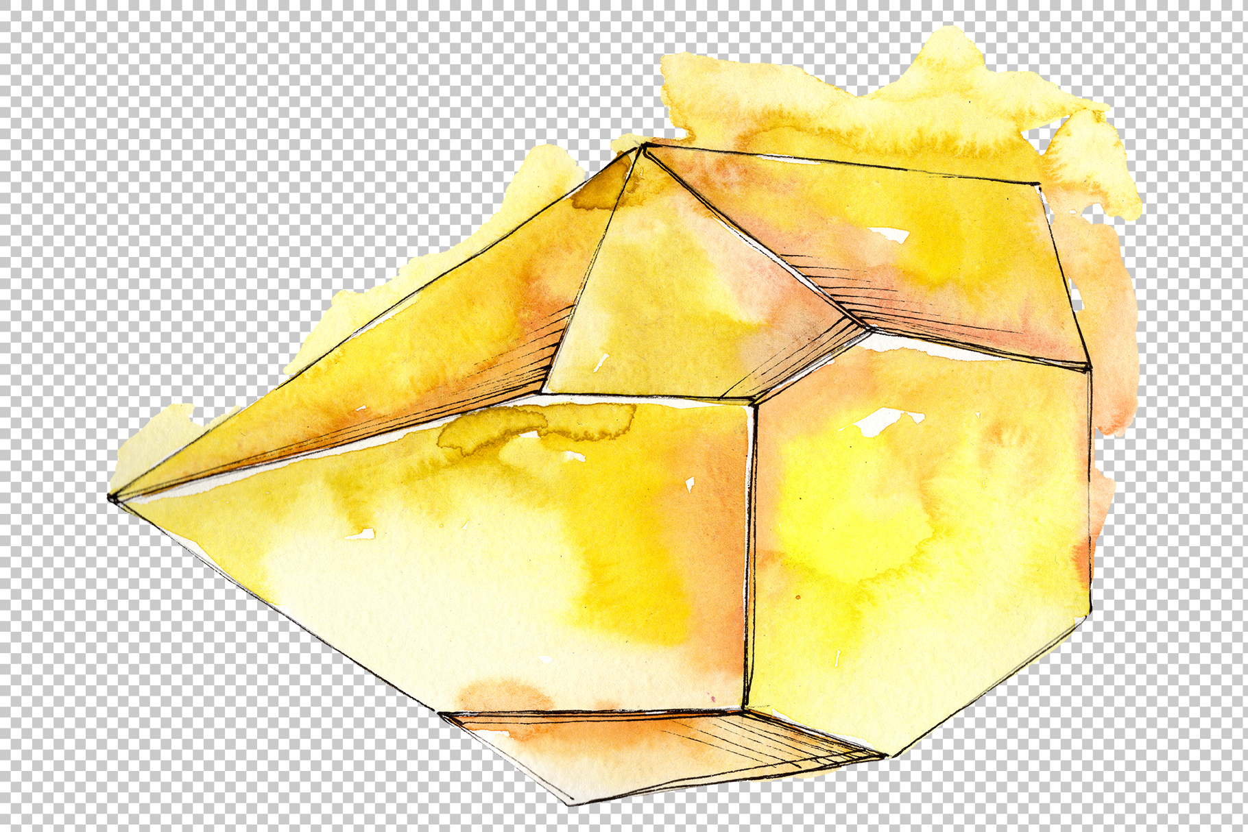 Crystals red yellow blue Watercolor png example image 3