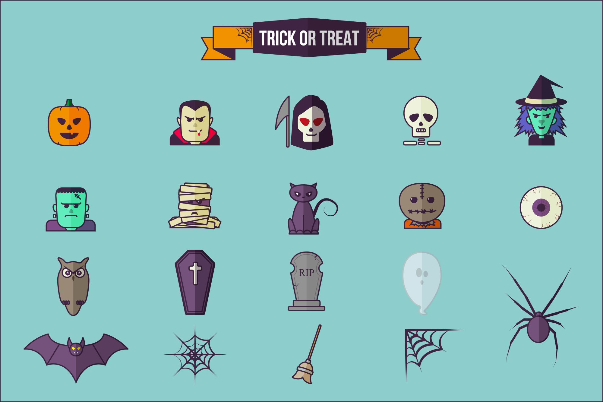 Halloween Flat Icon Set example image 2
