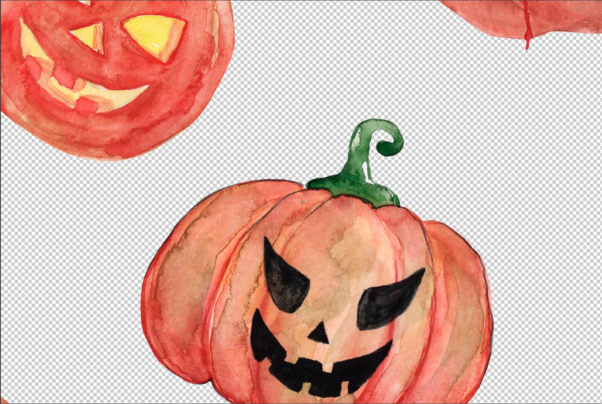 Watercolor Clipart Halloween Bundles with Bats Pumpkins example image 2