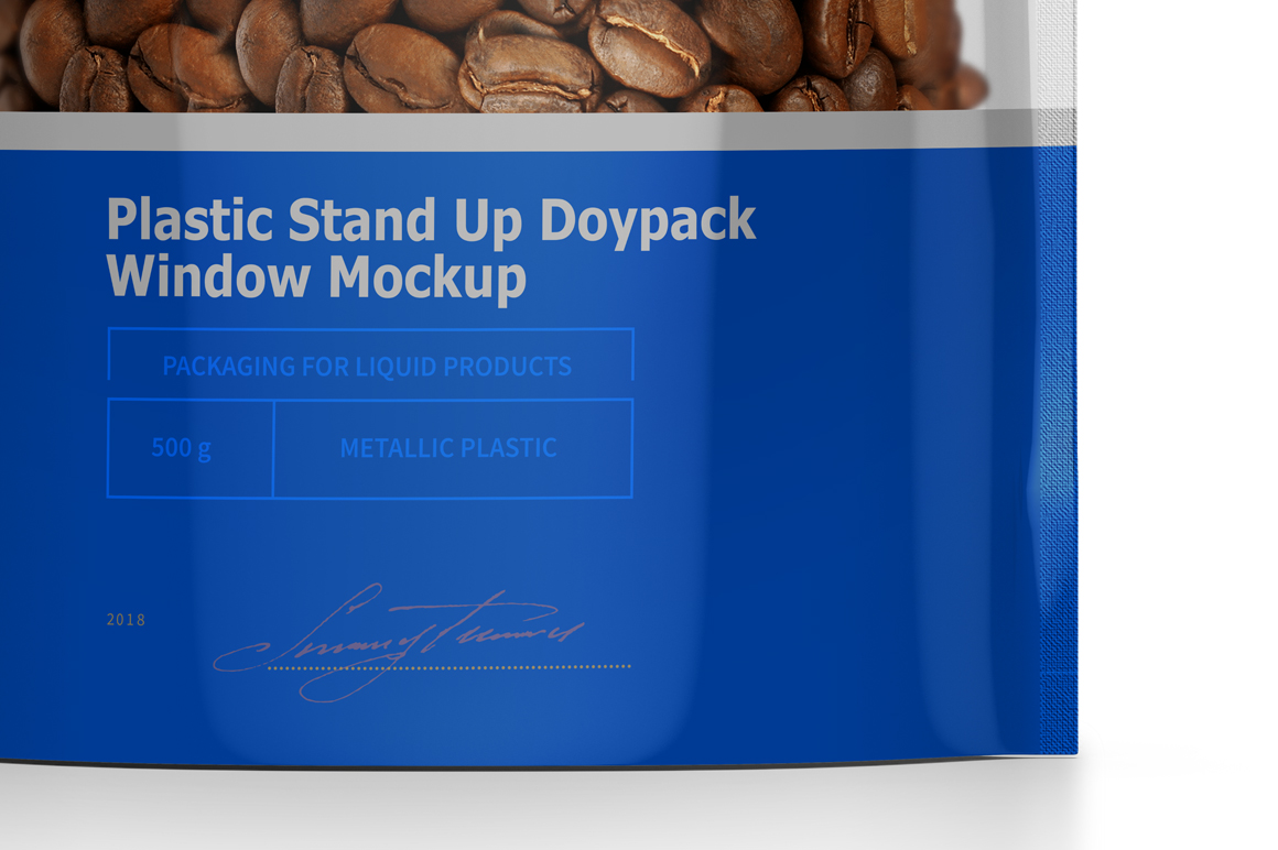 Plastic Stand Up Doypack With Window Mockup example image 7
