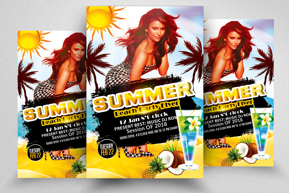 10 Summer Beach Cocktail Party Flyers Bundle example image 9