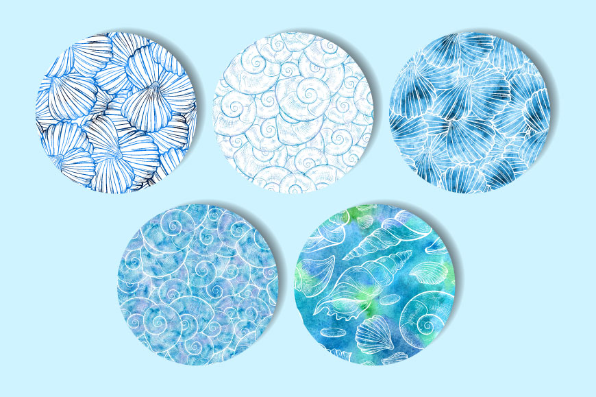 Sea shells seamless patterns set example image 2