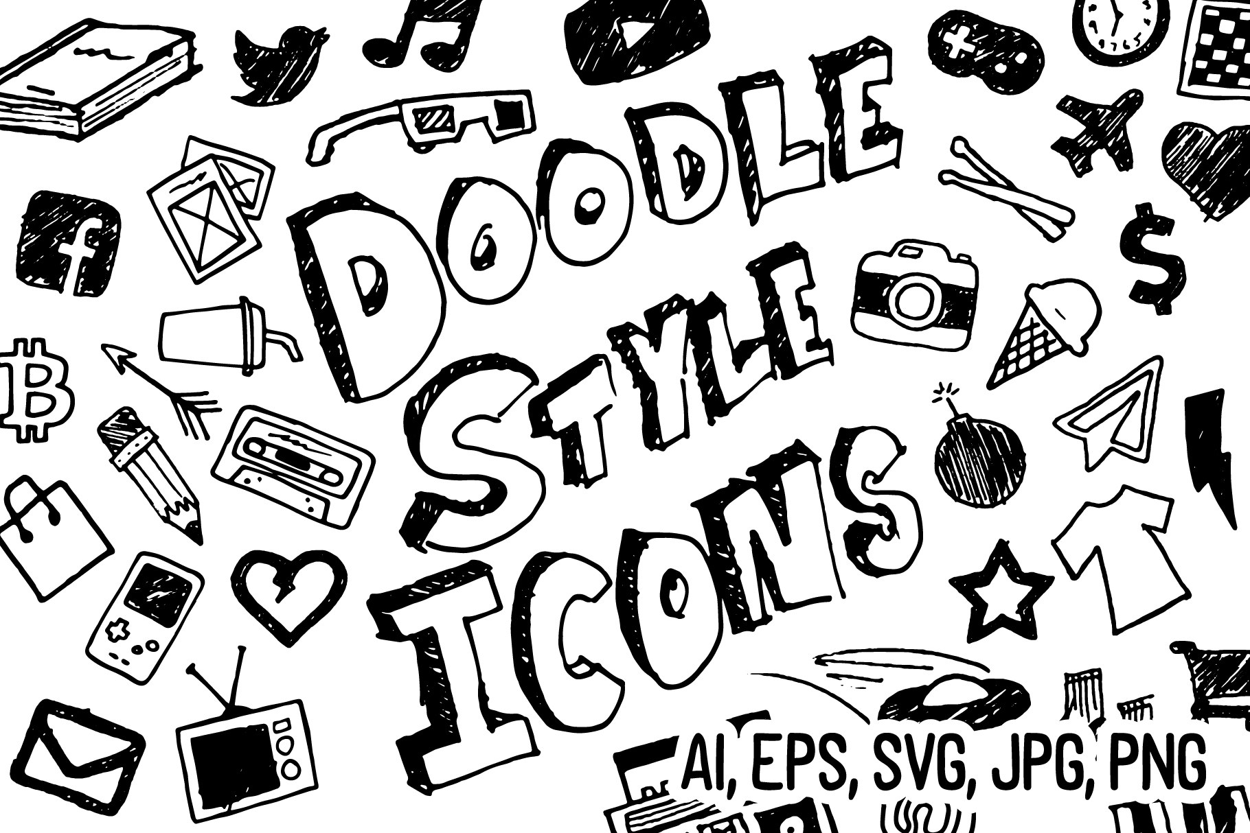Doodle Style Icon Pack example image 1