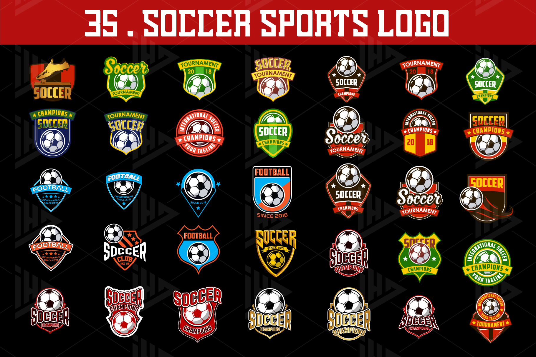 Set 35 Football Soccer Logo Emblem Template example image 2