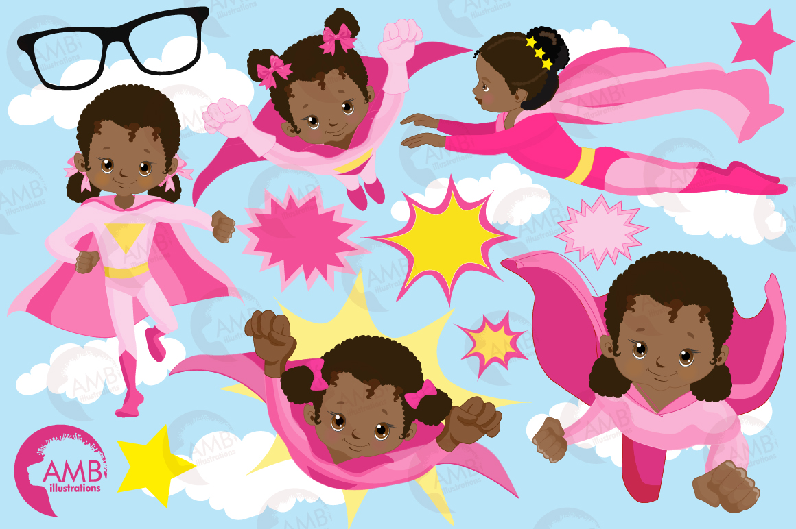 Superhero girls clipart, Dark skin tone, African American supergirls graphics, illustrations AMB-1801 example image 5