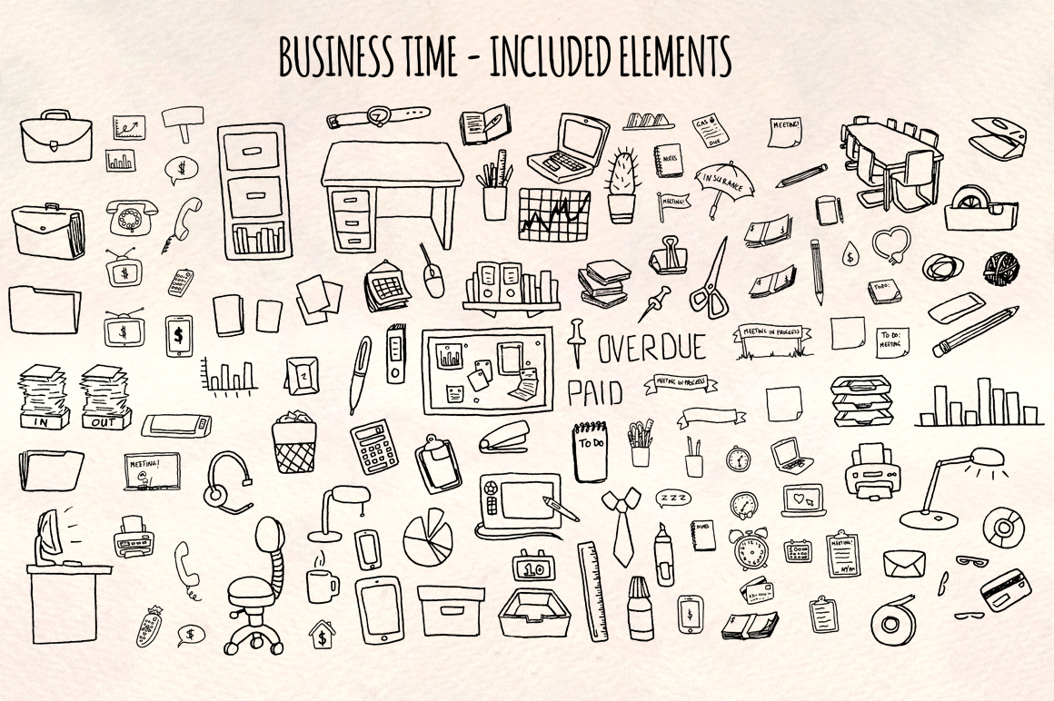 Over 120 Business and Office Vector Clipart Sketches example image 1