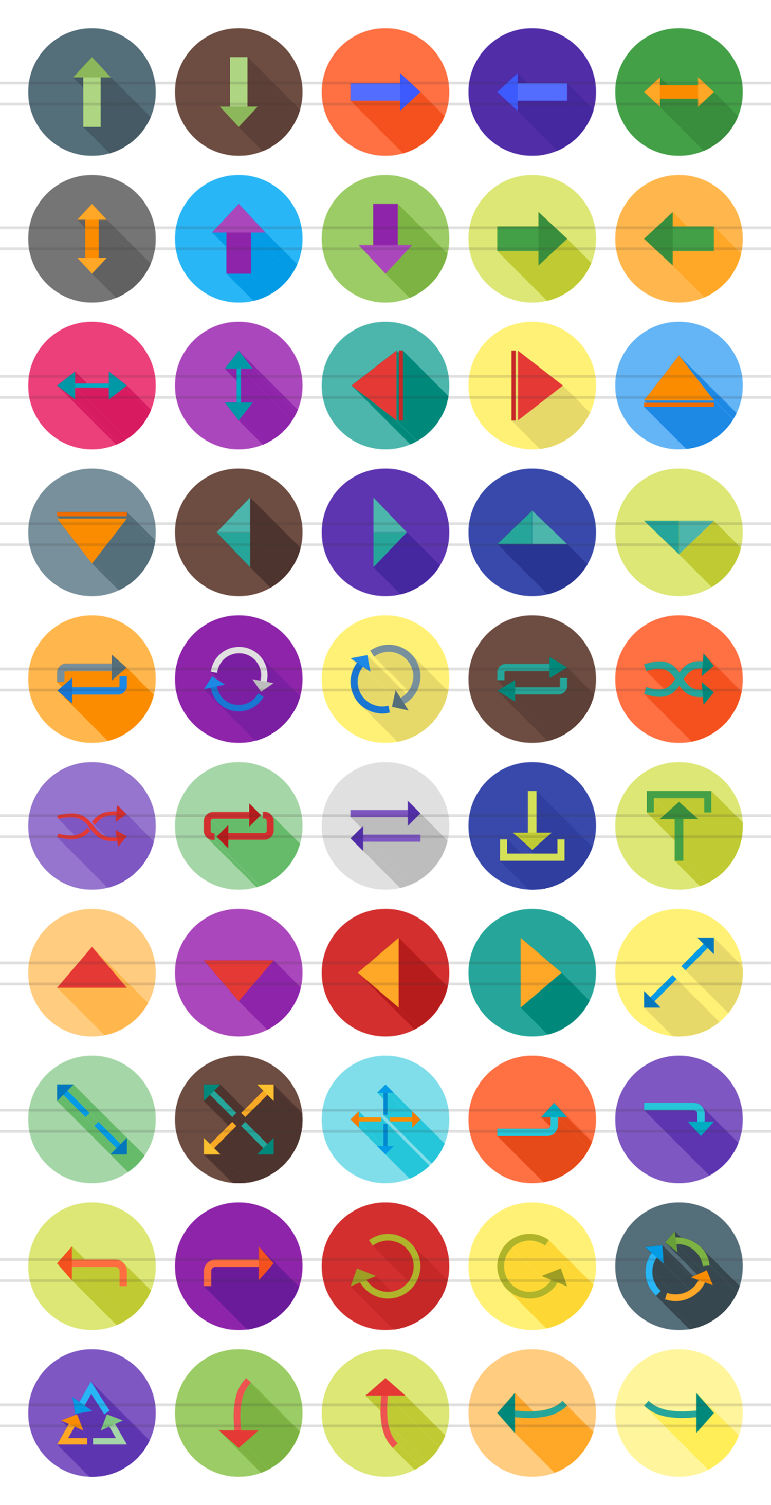 50 Arrows Flat Long Shadow Icons example image 2
