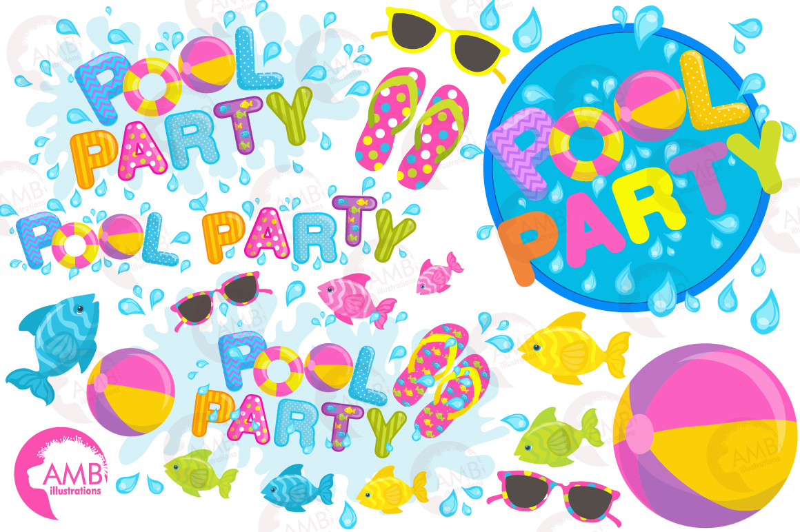 Pool party elements clipart, graphics pack AMB-902 example image 5