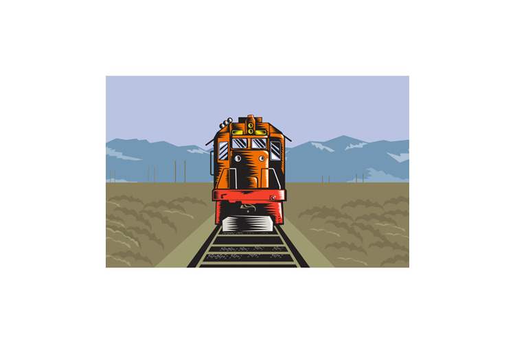 Diesel Train Front Rear Woodcut Retro example image 1