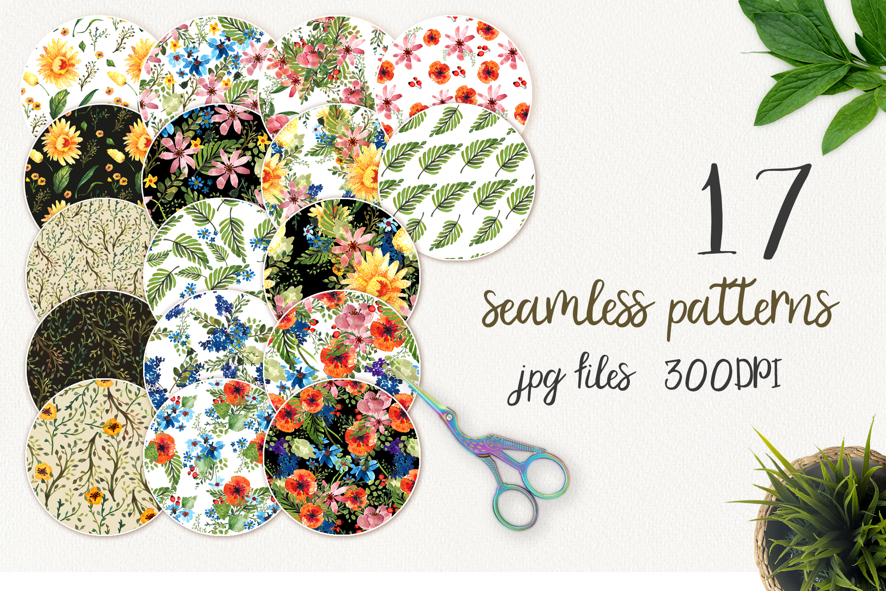 Flower Power watercolor pack set with frames wreath patterns example image 2