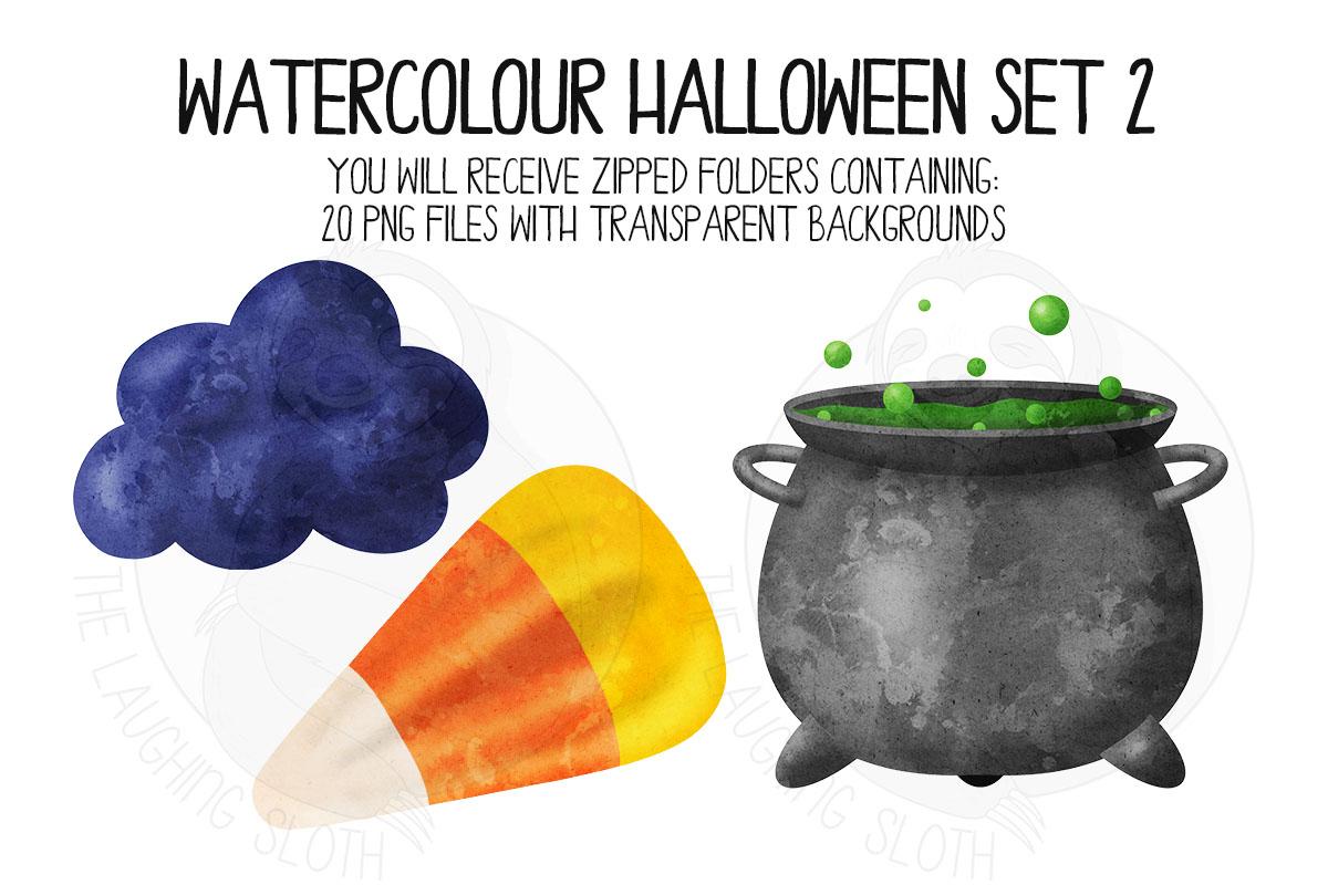 Watercolor Halloween Clip Art Set 2 example image 3