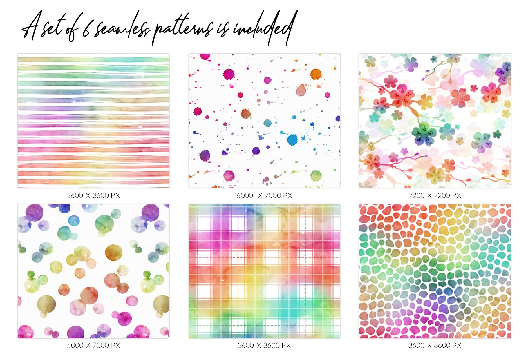 10 Huge Seamless Rainbow Watercolor Textures example image 5